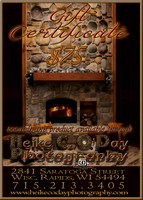 GIFT CERTIFICATE $75 - 5x7 V - FIREPLACE